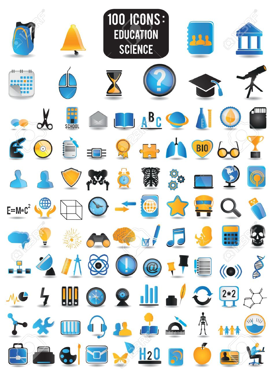 100 detailed icons of education and science - vector icons Stock Vector - 16566922