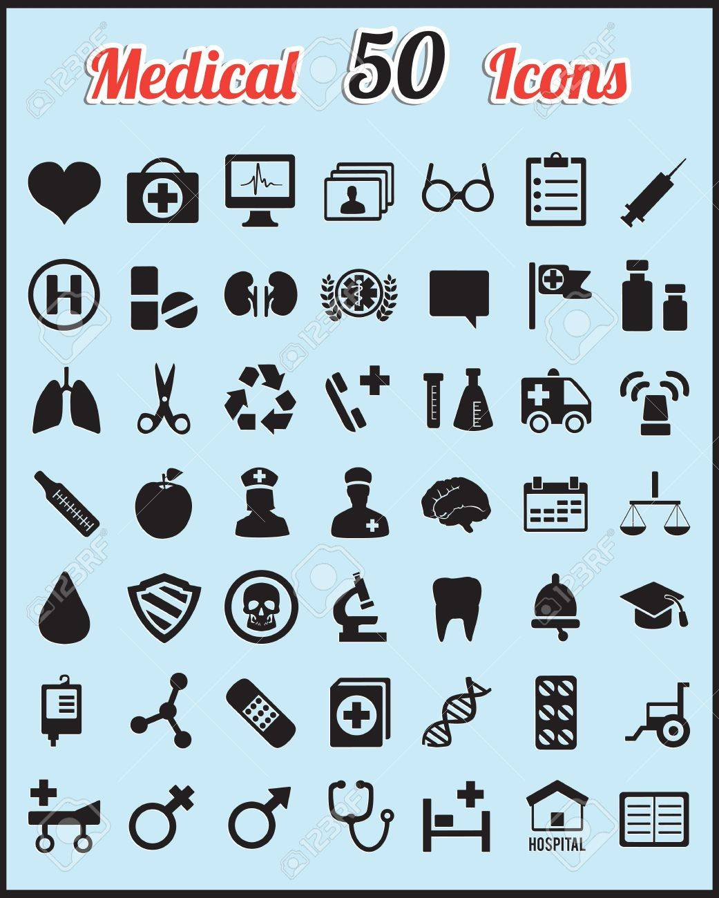 Set of 50 medical icons for design - vector icons Stock Vector - 16632993