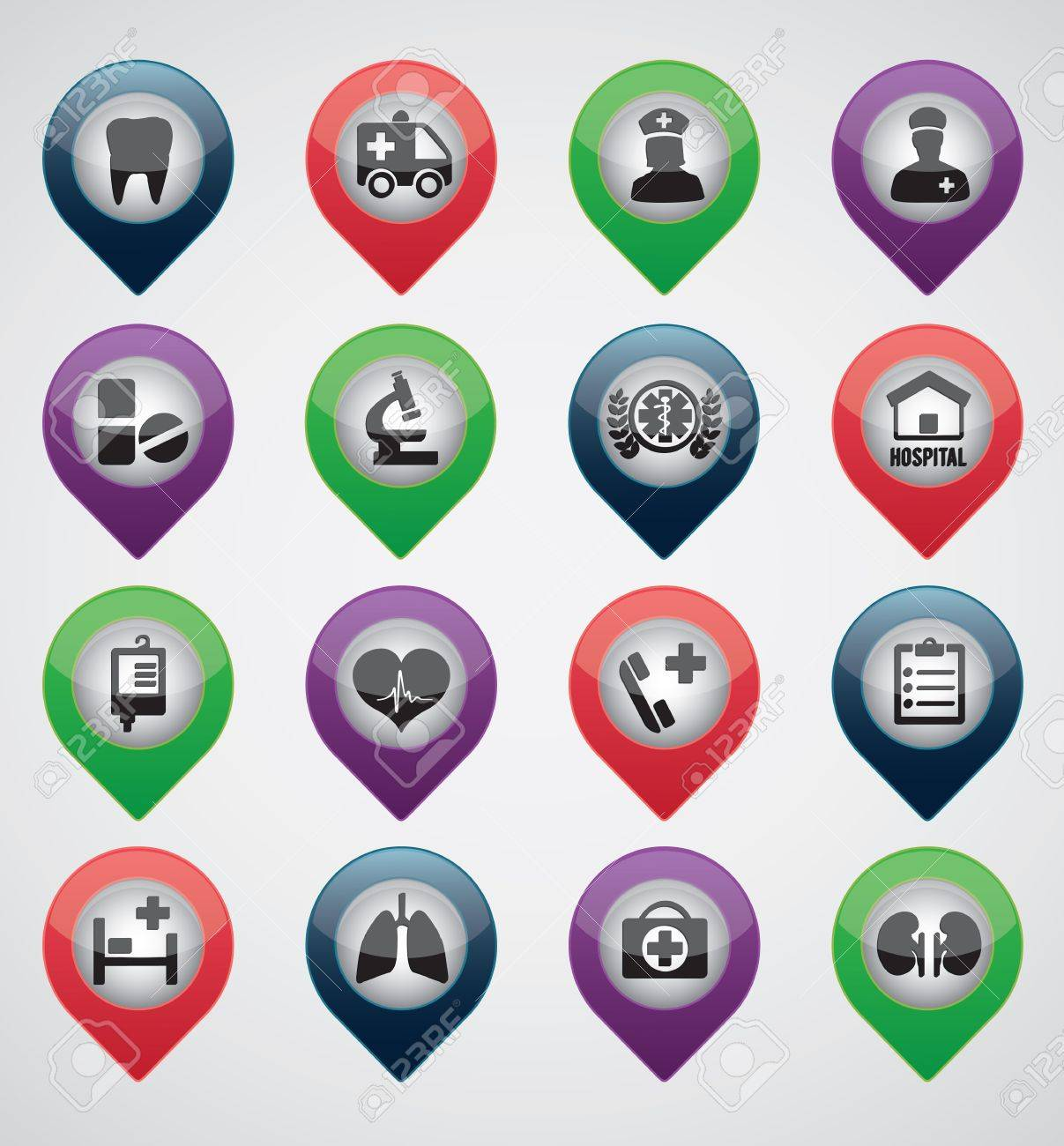 Set of medical pointers - icons Stock Vector - 16756476