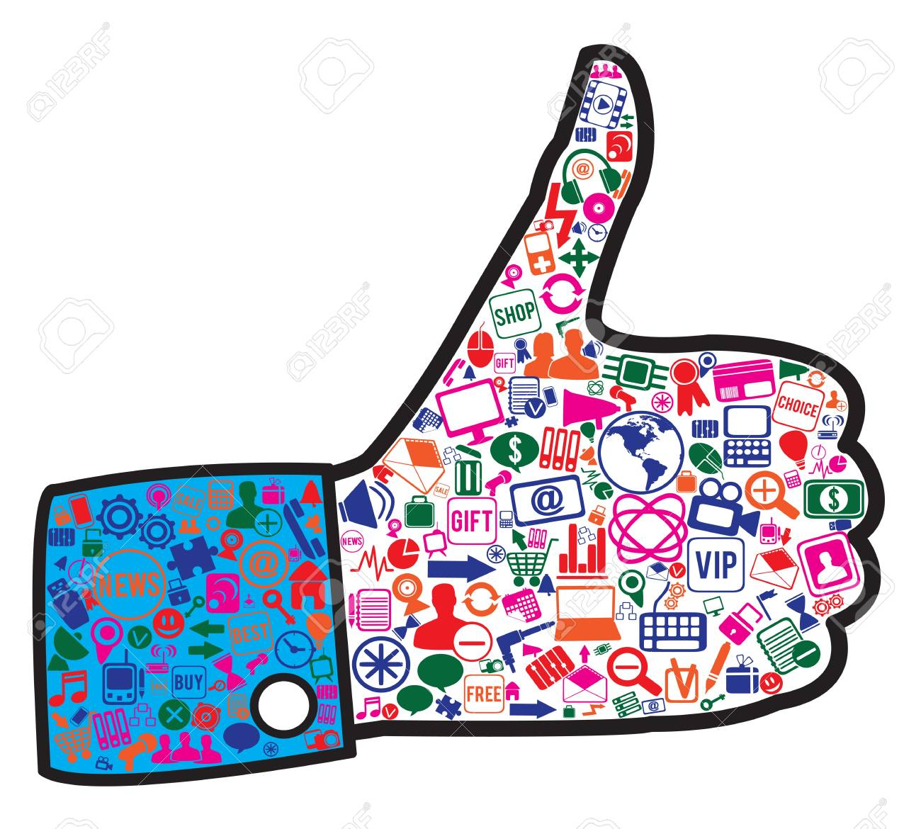 hand with social media icons -  illustration Stock Vector - 17569914