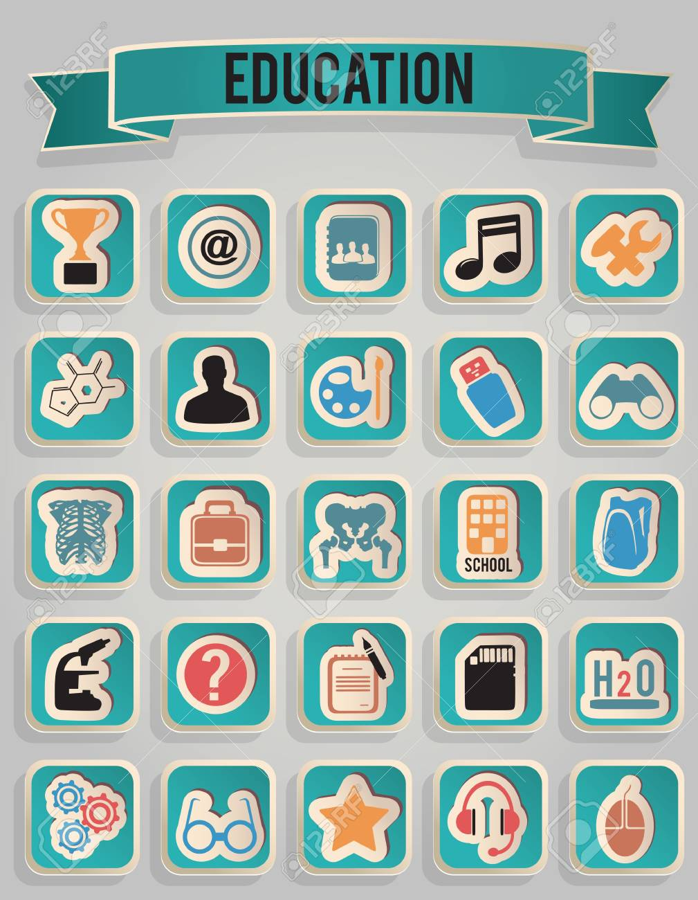 set of education icons Stock Vector - 17569865