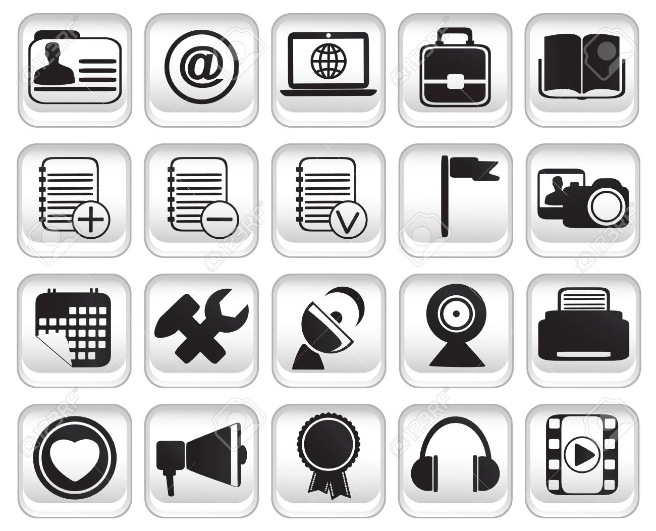 set community buttons icons Stock Vector - 17569750