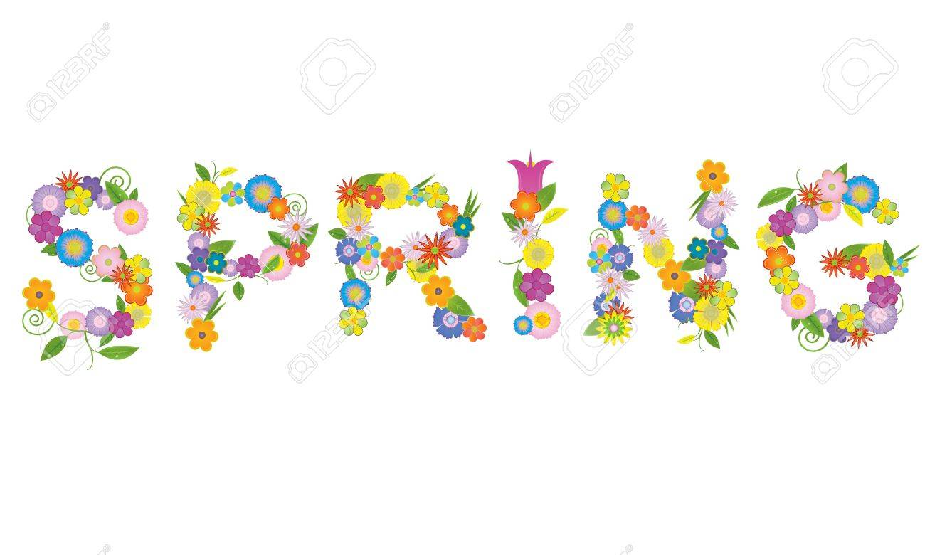 word spring made of flowers -  illustration Stock Vector - 17569935