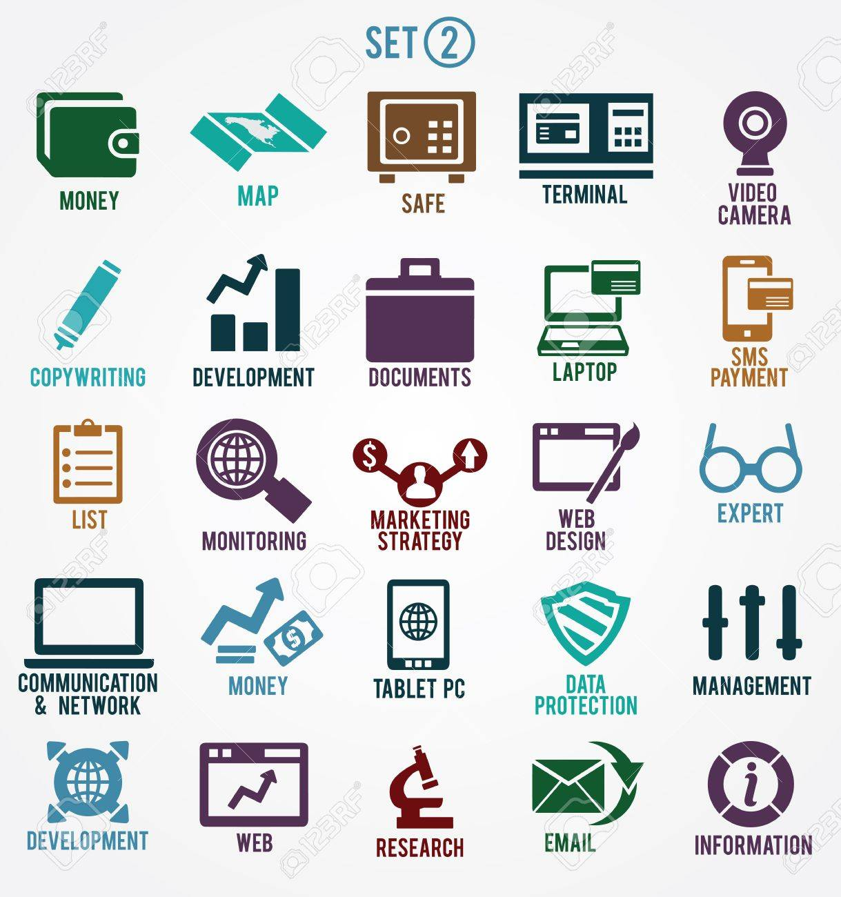 Set of internet services icons - part 2 - vector symbols Stock Vector - 19085126