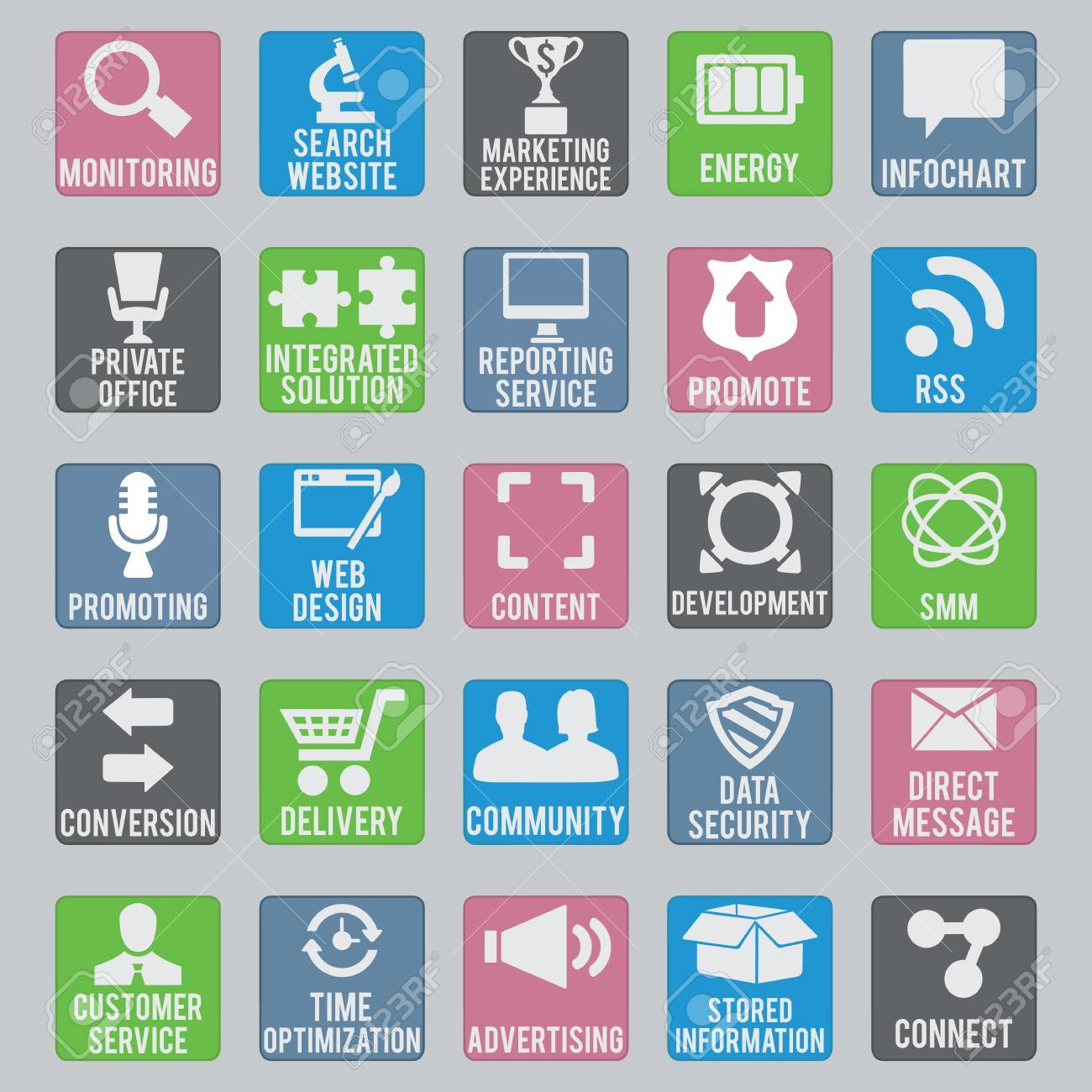 Set of seo icons - part 2 - vector icons Stock Vector - 19085132