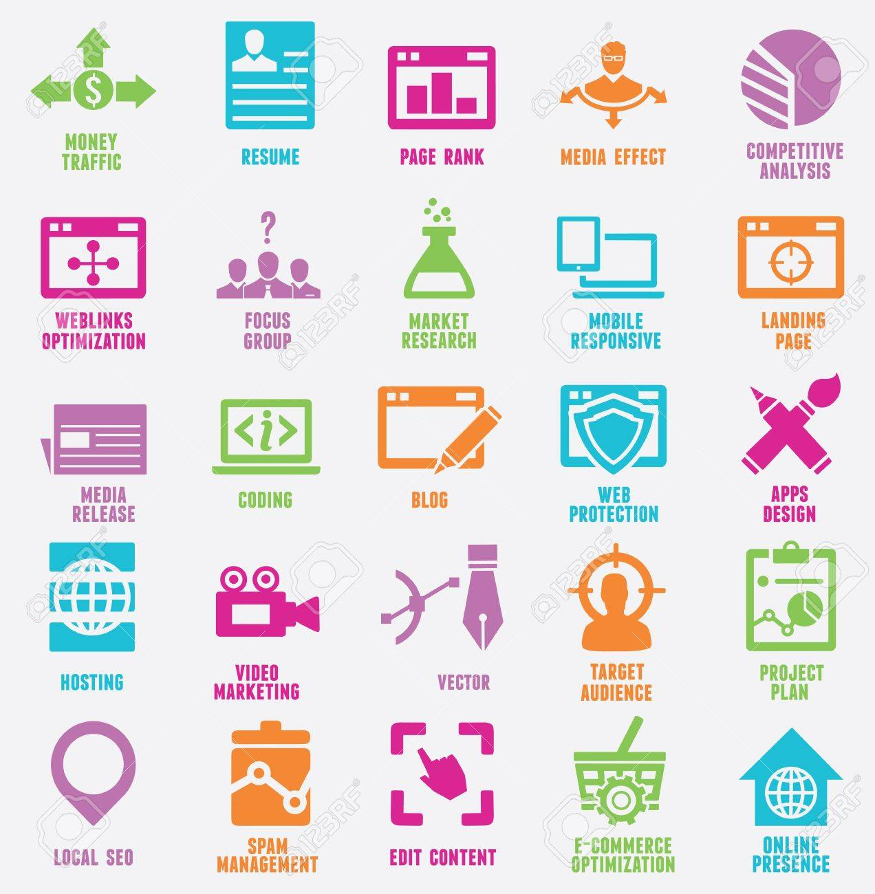 Set of seo and internet service icons Stock Vector - 21139113