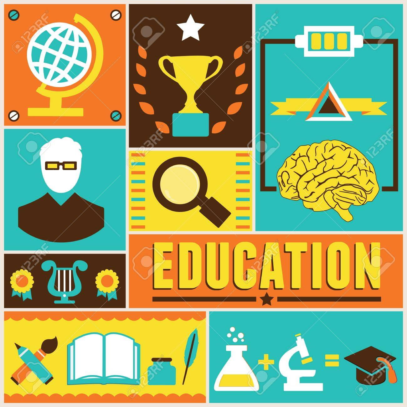 Retro Poster Of Education Royalty Free Cliparts, Vectors, And ...