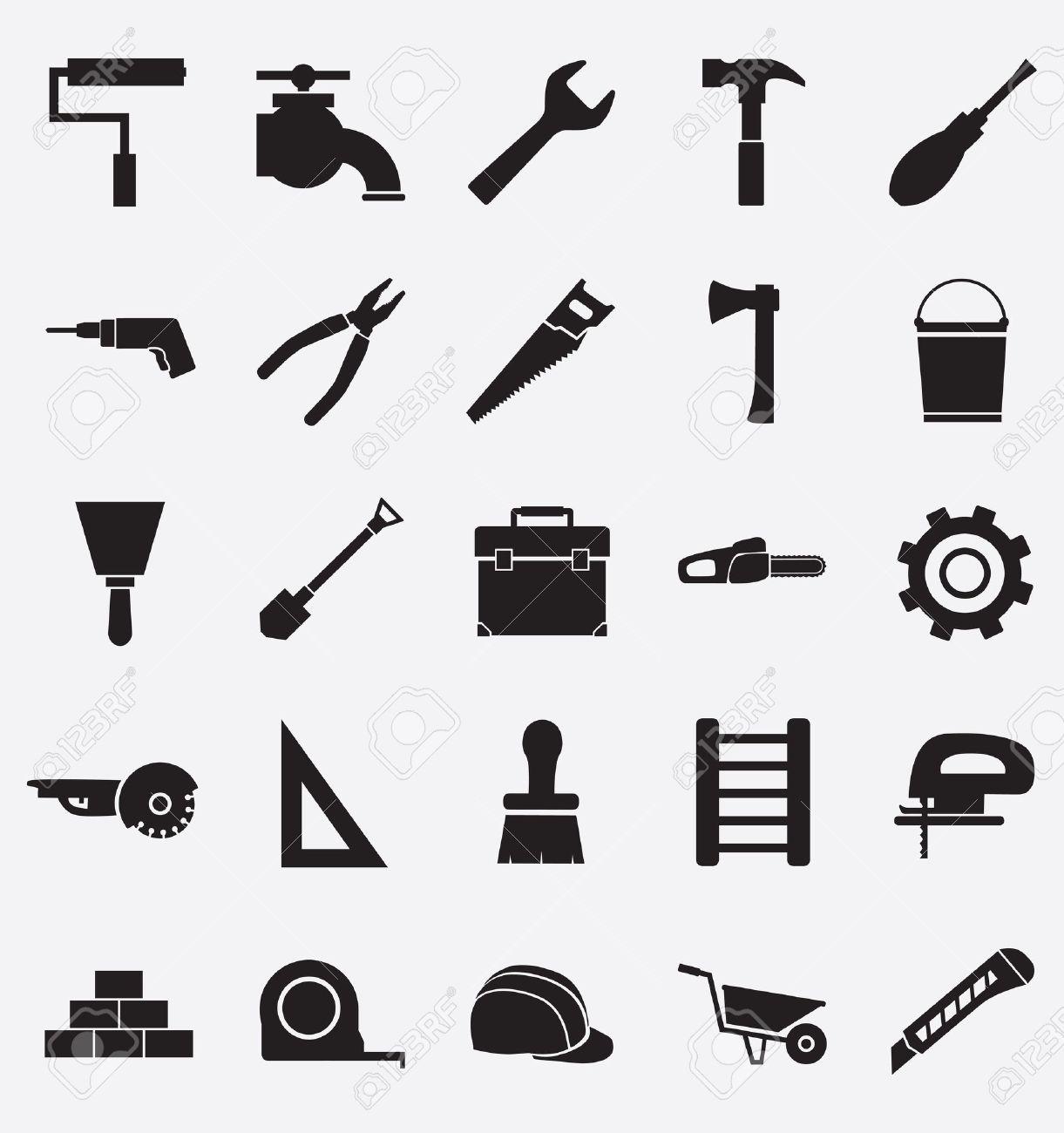 Hand Tools - Set Of Icons. Isolated Black Symbols On White ...