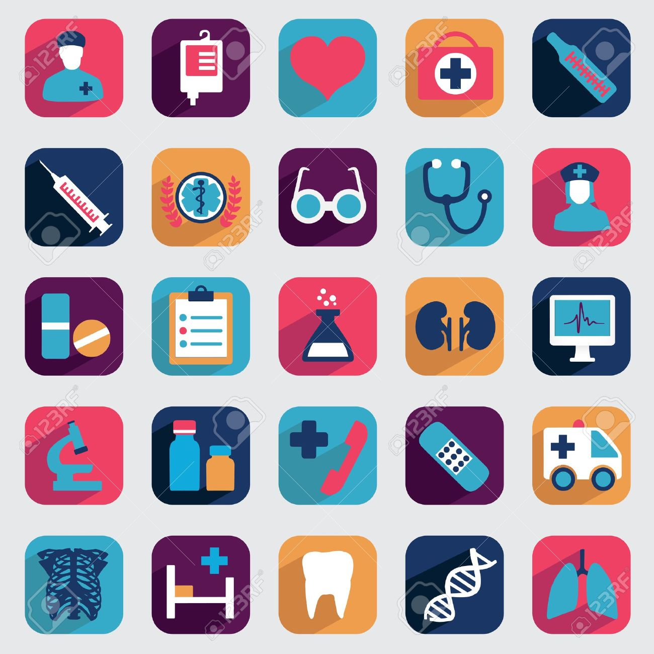 Set of flat medical icons for design Stock Vector - 21973907