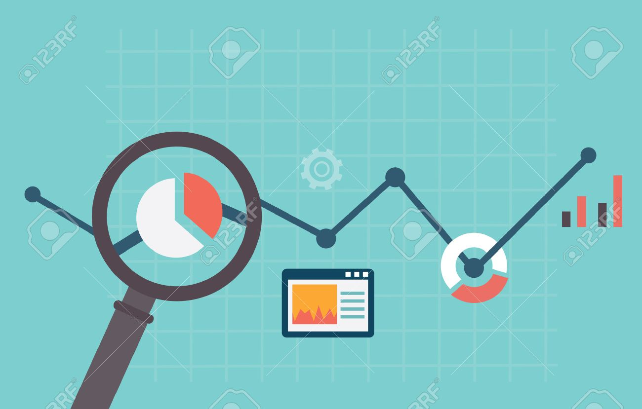 Flat vector illustration of web analytics information and development website statistic - vector illustration - 24751134