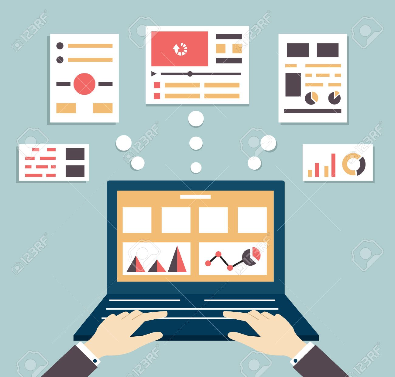 Flat vector illustration of web and application optimization, programming, design and analytics - vector illustration Stock Vector - 24751182