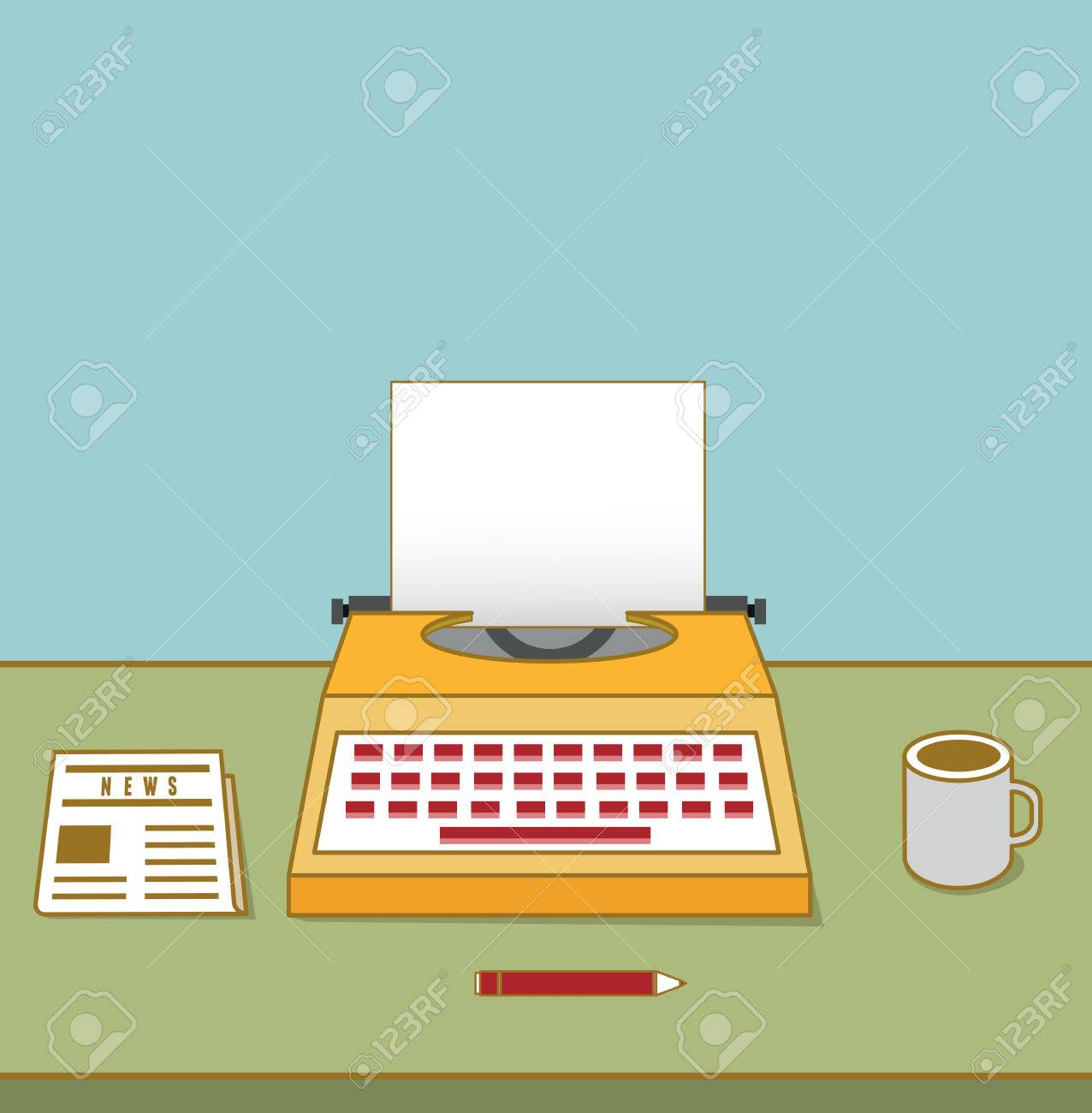 Vintage typewriter on the table with copyspace for text  Equipment for blog - vector illustration Stock Vector - 27894964