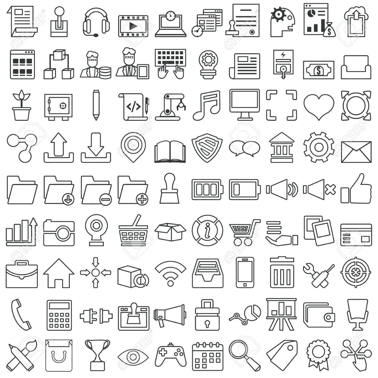Set of vector business outline icons for design - vector icons Stock Vector - 29726059