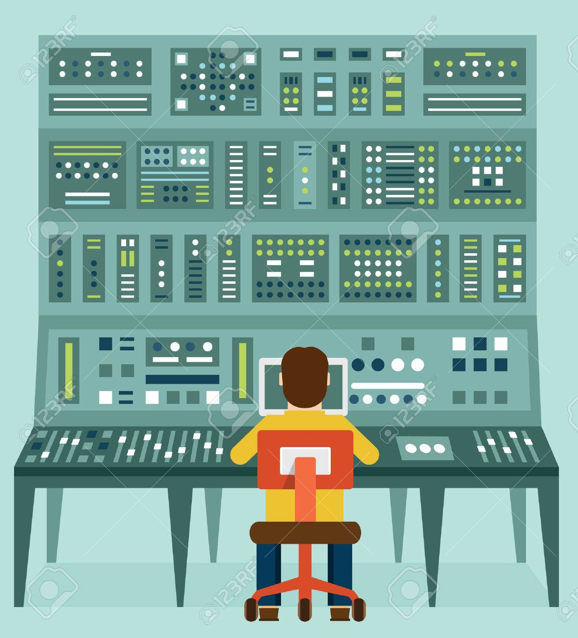 Flat illustration of expert with control panel. - 32614313