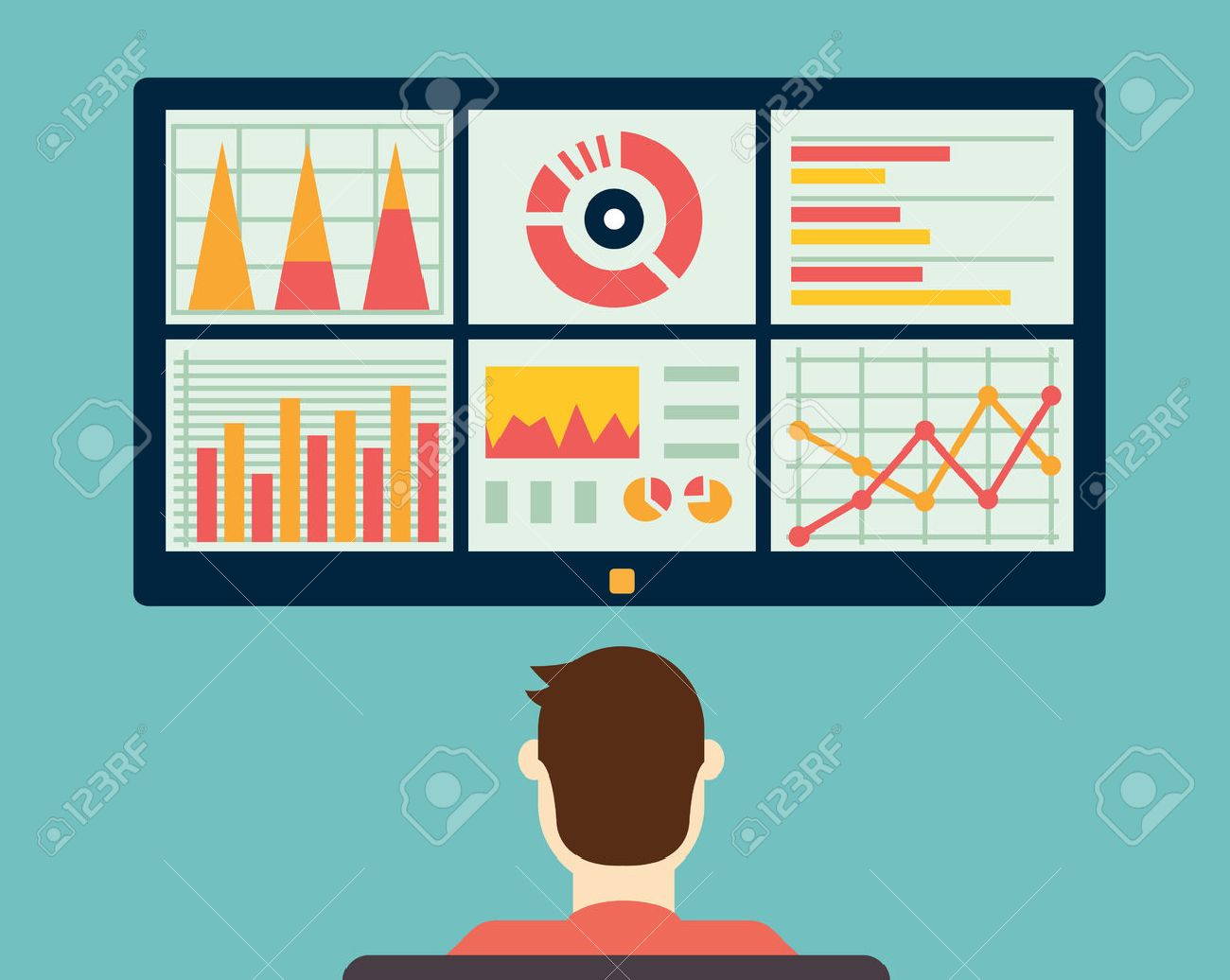 Analysis of information on the dashboard. Monitoring and statistics - vector illustration - 33923346