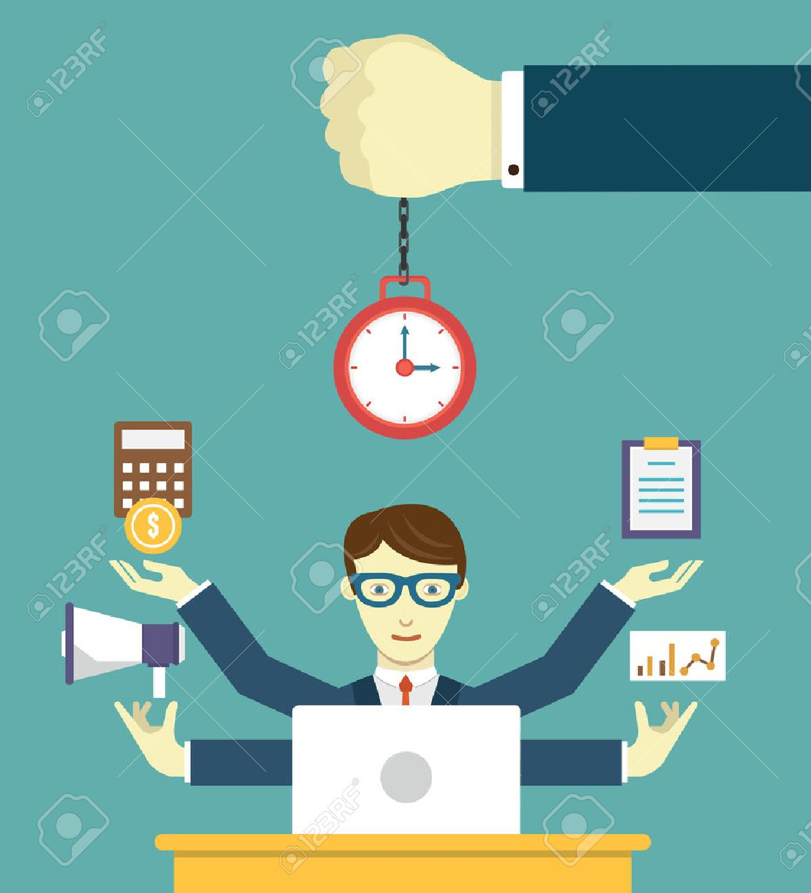 Time management - pledge of success. Business planning and results - vector illustration - 34201639