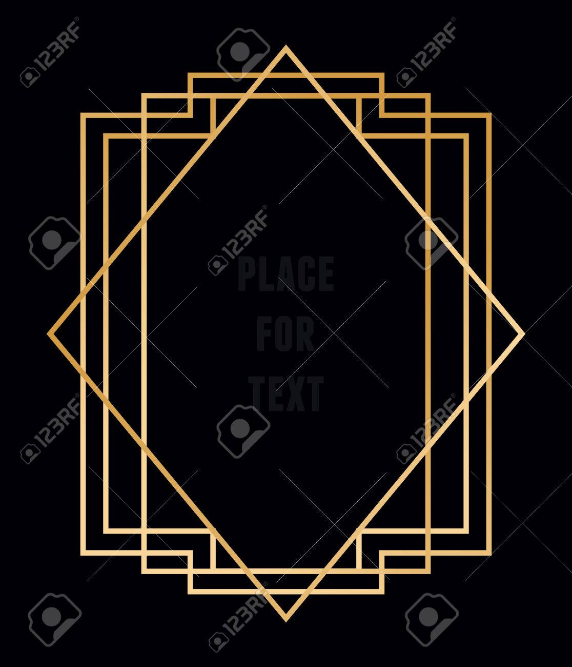 Vector trendy geometric frame for text. Line style - vector element - 35641067