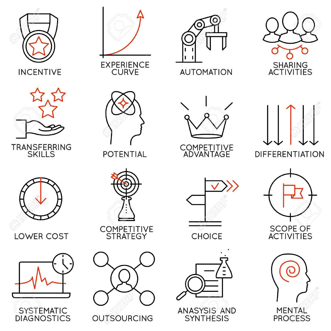 Set linear icons of business management, strategy, career progress and business people organization. Linear infographic vector pictograms - part 4 - 44284903