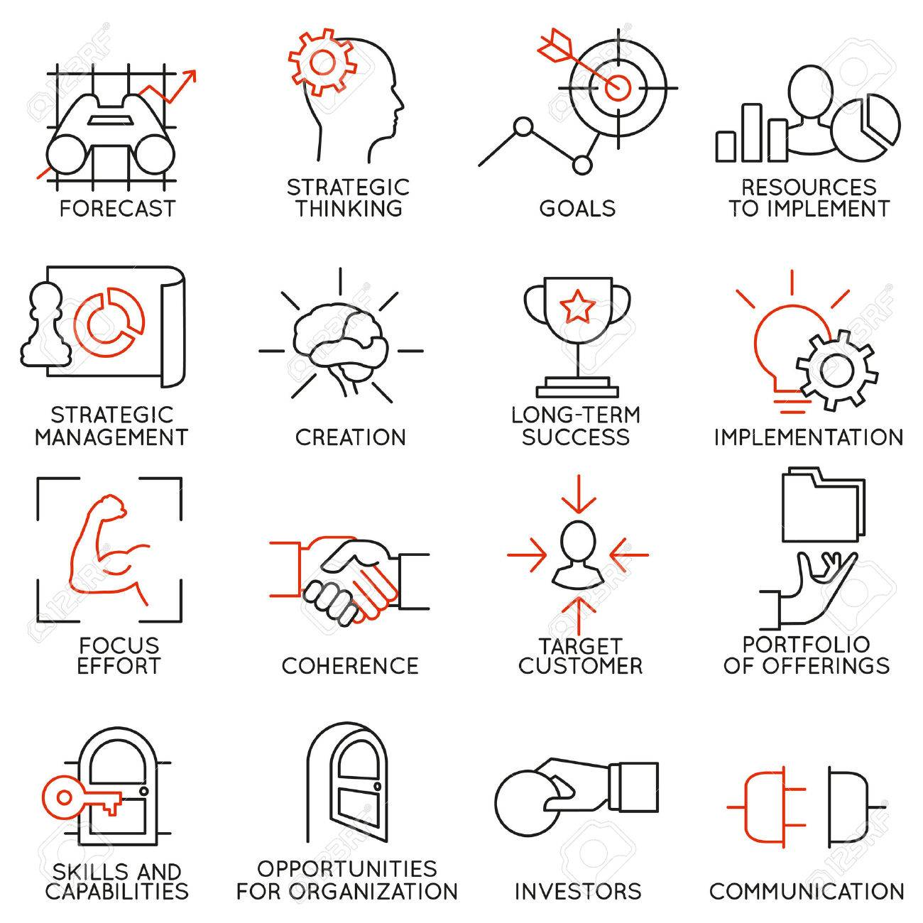 set linear icons of business management strategy career progress set linear icons of business management strategy career progress and business people organization