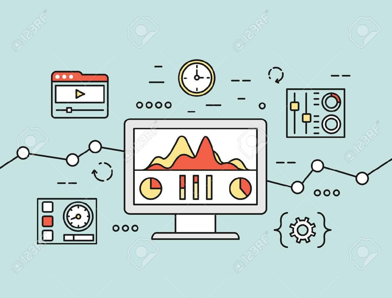 Concepto Del Vector De Información De Búsqueda De Análisis De Sitios Web Y  El Análisis De Datos De Computación En El Uso De Dispositivos Móviles,  Aplicaciones Y Programas Especiales. Aislado En El