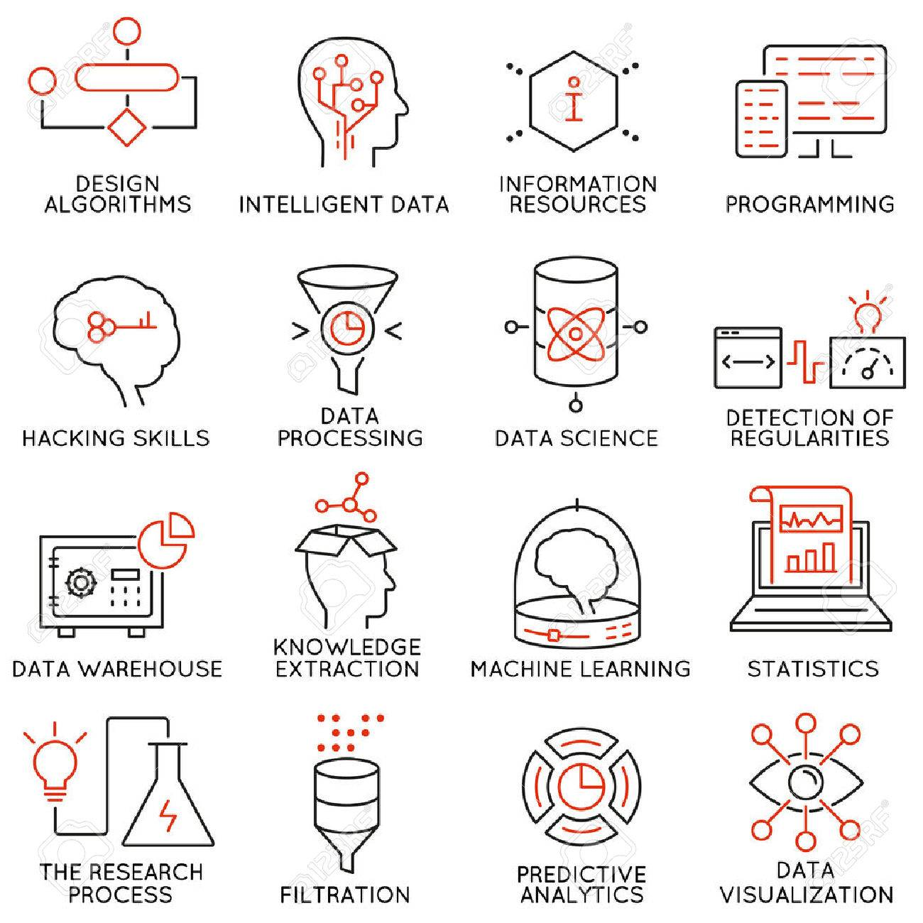 Vector set of 16 icons related to business and data management, analytic service and data science. Mono line pictograms and infographics design elements - part 2 - 53144727