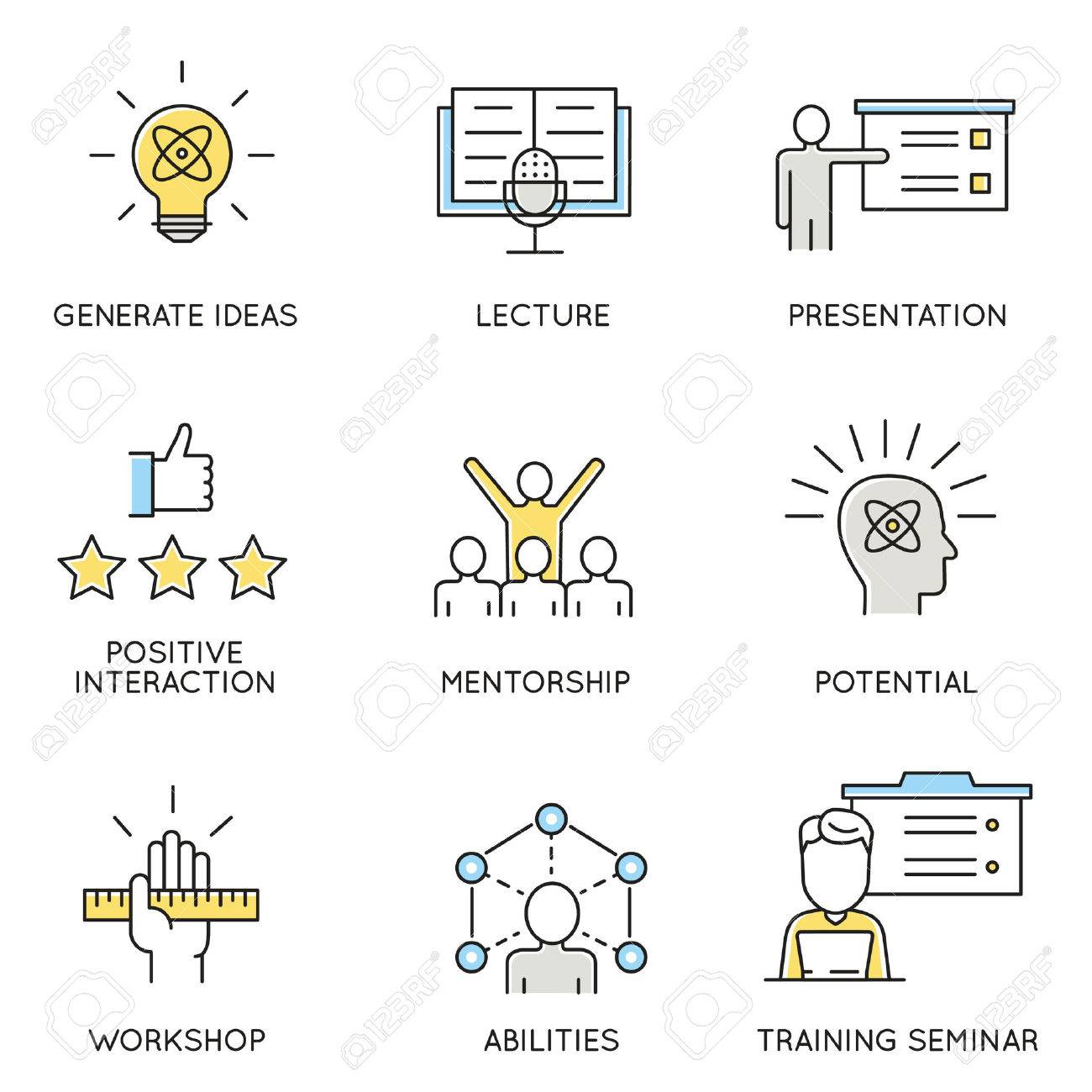 set of icons related to business, corporate management, employee organization and customer relationship management. - 54006270