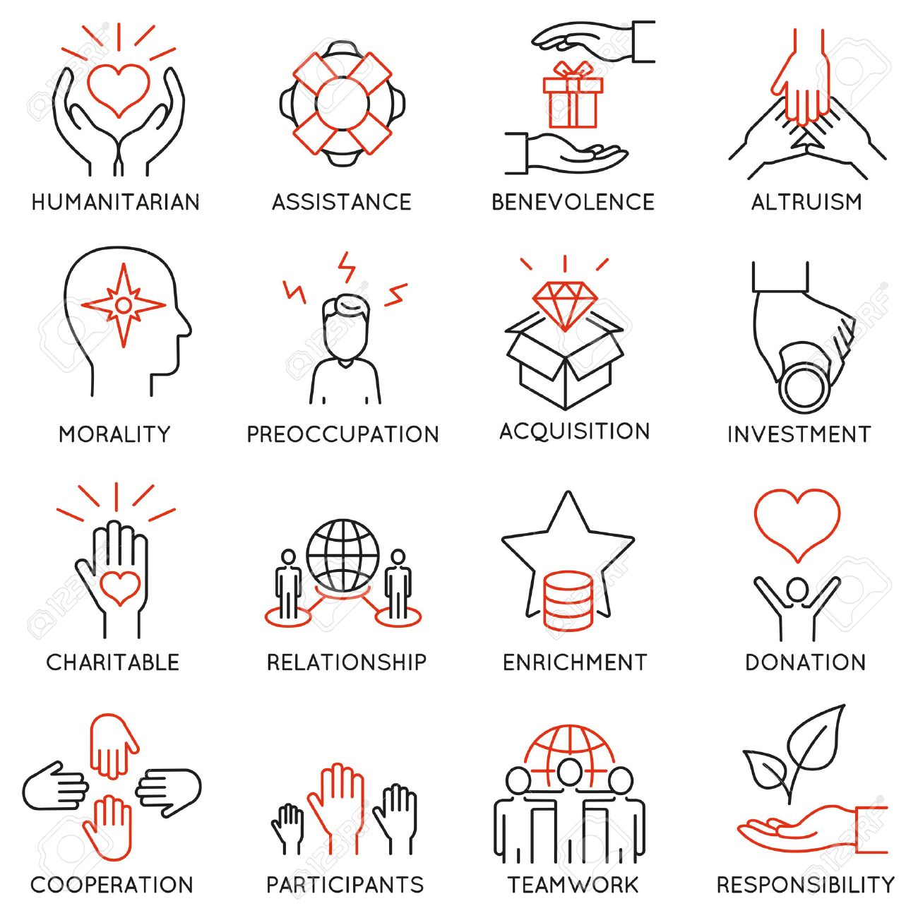 set of 16 thin icons related to altruism, benevolence, human responsible and beneficence. Altruism, Benevolence Icons. Mono line pictograms and infographics design elements - 56695632