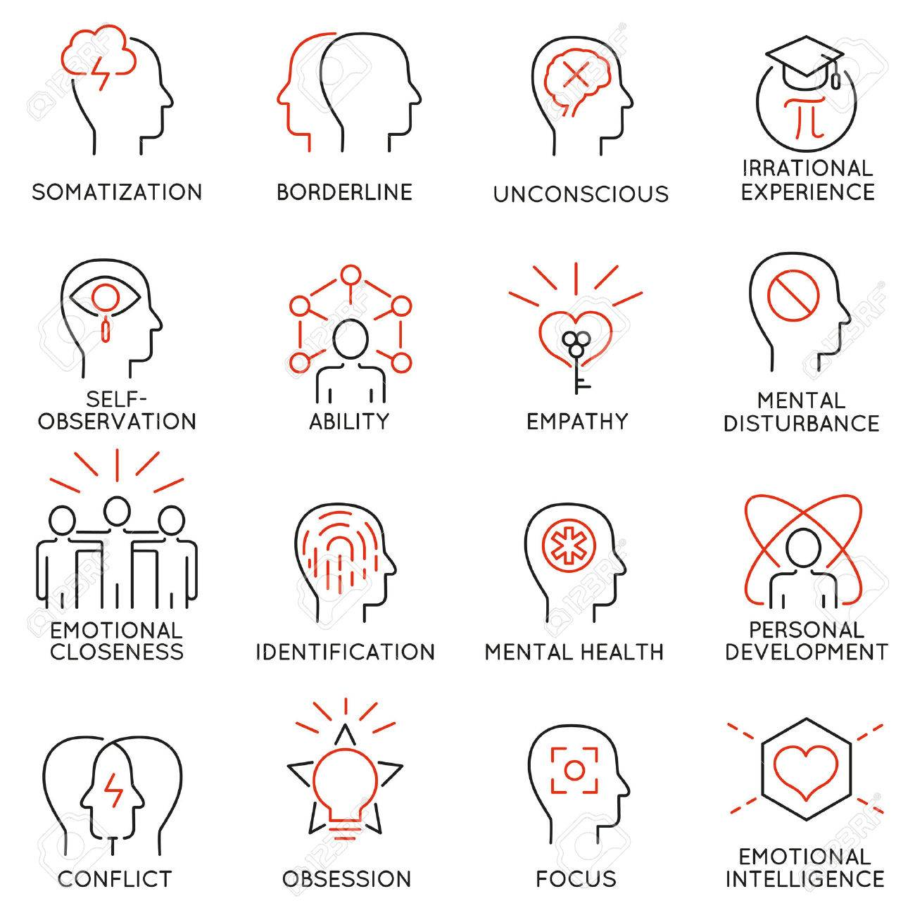 Set Of 16 Modern Thin Line Icons Related To Mental Features Of