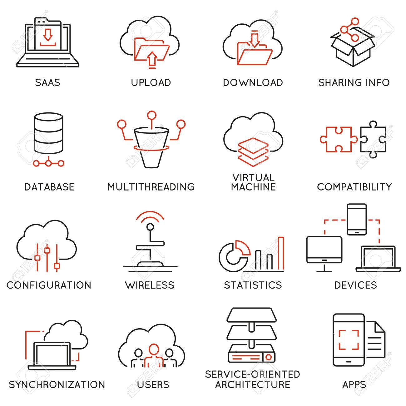Set Of 16 Modern Thin Line Icons Related To Cloud Computing Service And Data Storage Stock