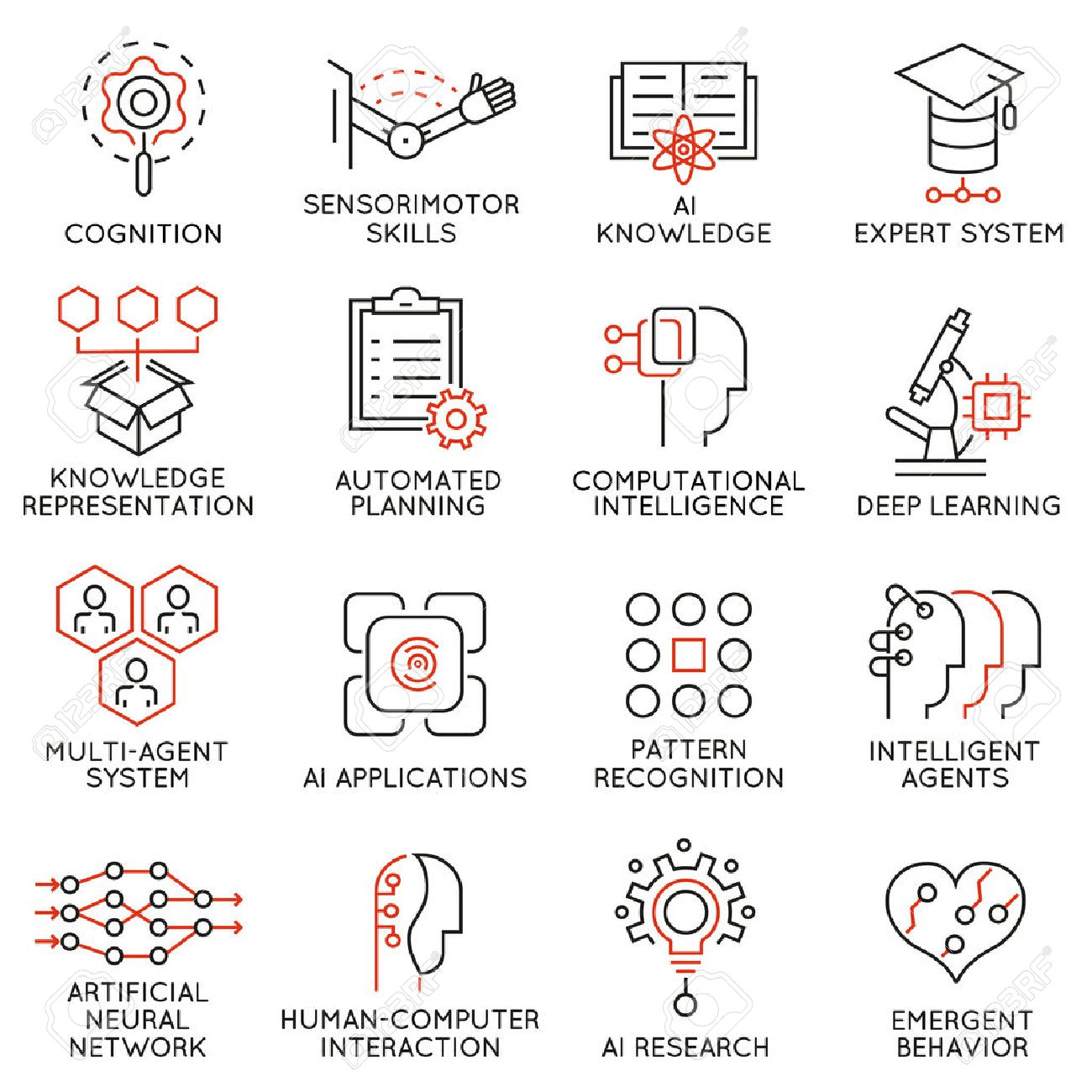 Vector set of 16 thin icons related to artificial intelligence and data science. Mono line pictograms and infographics design elements - part 2 - 59220453