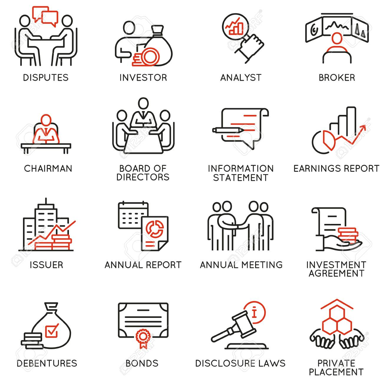Vector set of linear icons related to business process, team work, human resource management and stakeholders. Mono line pictograms and infographics design elements - 93237120