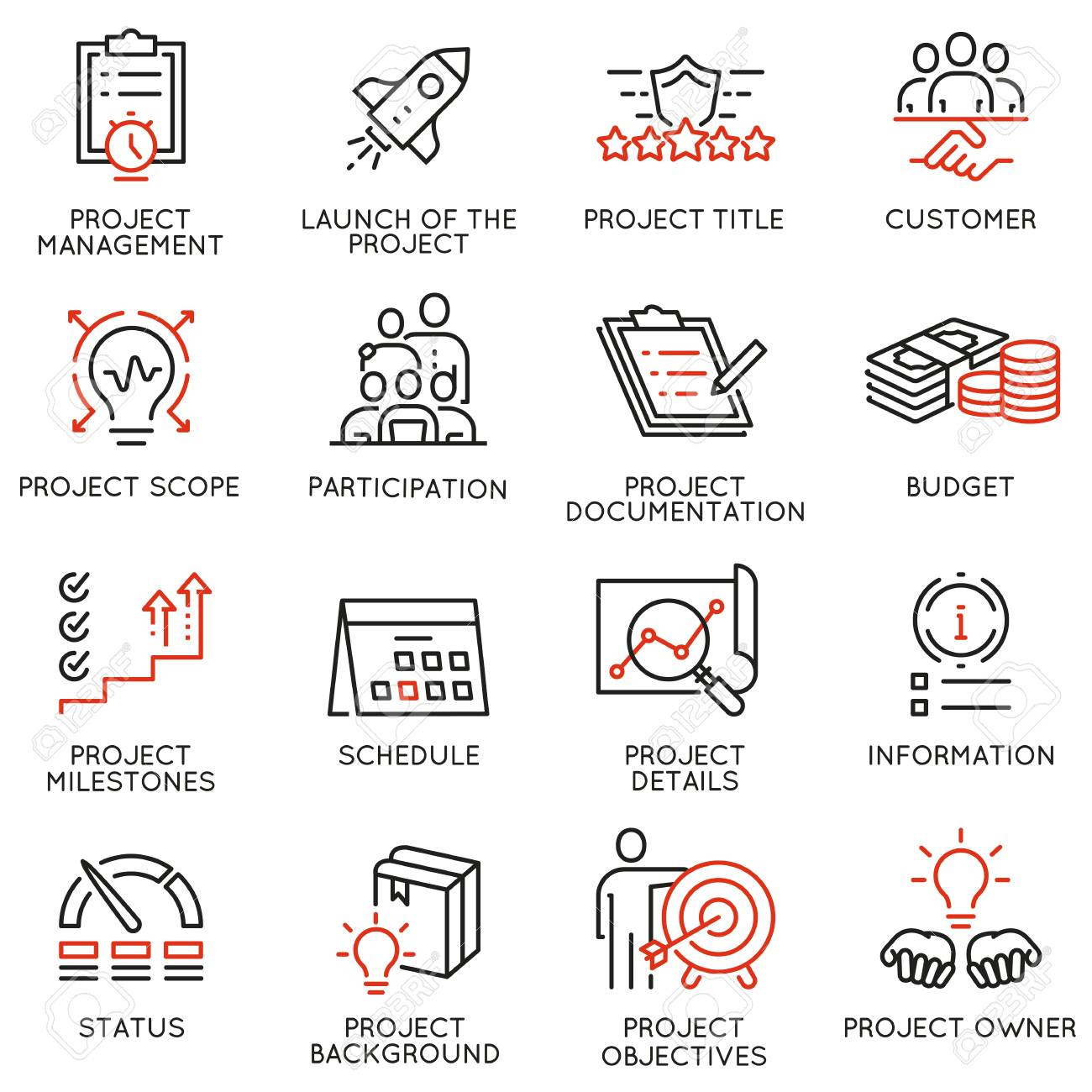 Vector set of linear icons related to project management  Mono