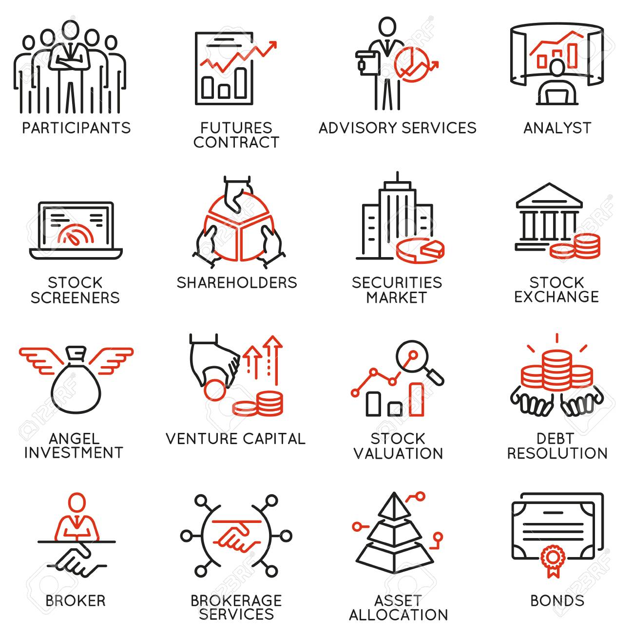 Vector Set Of Linear Icons Related To Trade Service Investment