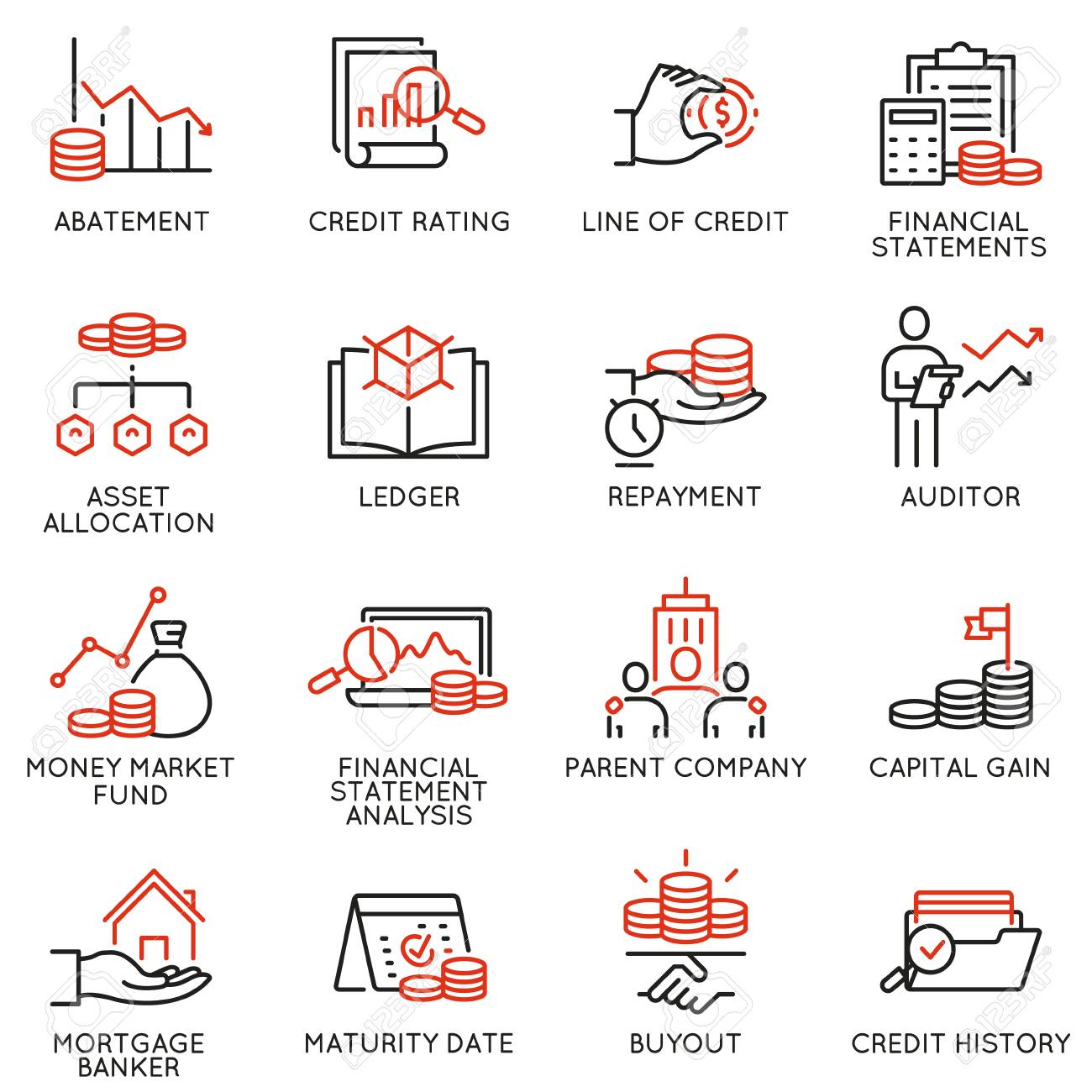 Vector set of linear icons related to investment, financial advice and business management. Mono line pictograms and infographics design elements - part 1 - 125364122