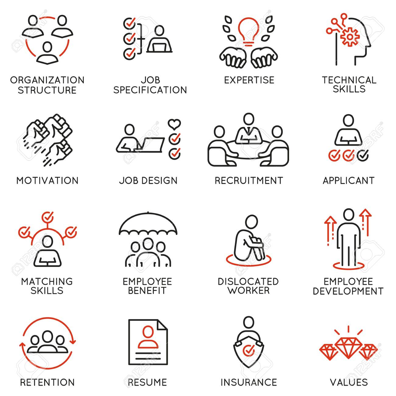 Vector set of linear icons related to engagement employee, employability skills, human resource management. Mono line pictograms and infographics design elements - 132293522