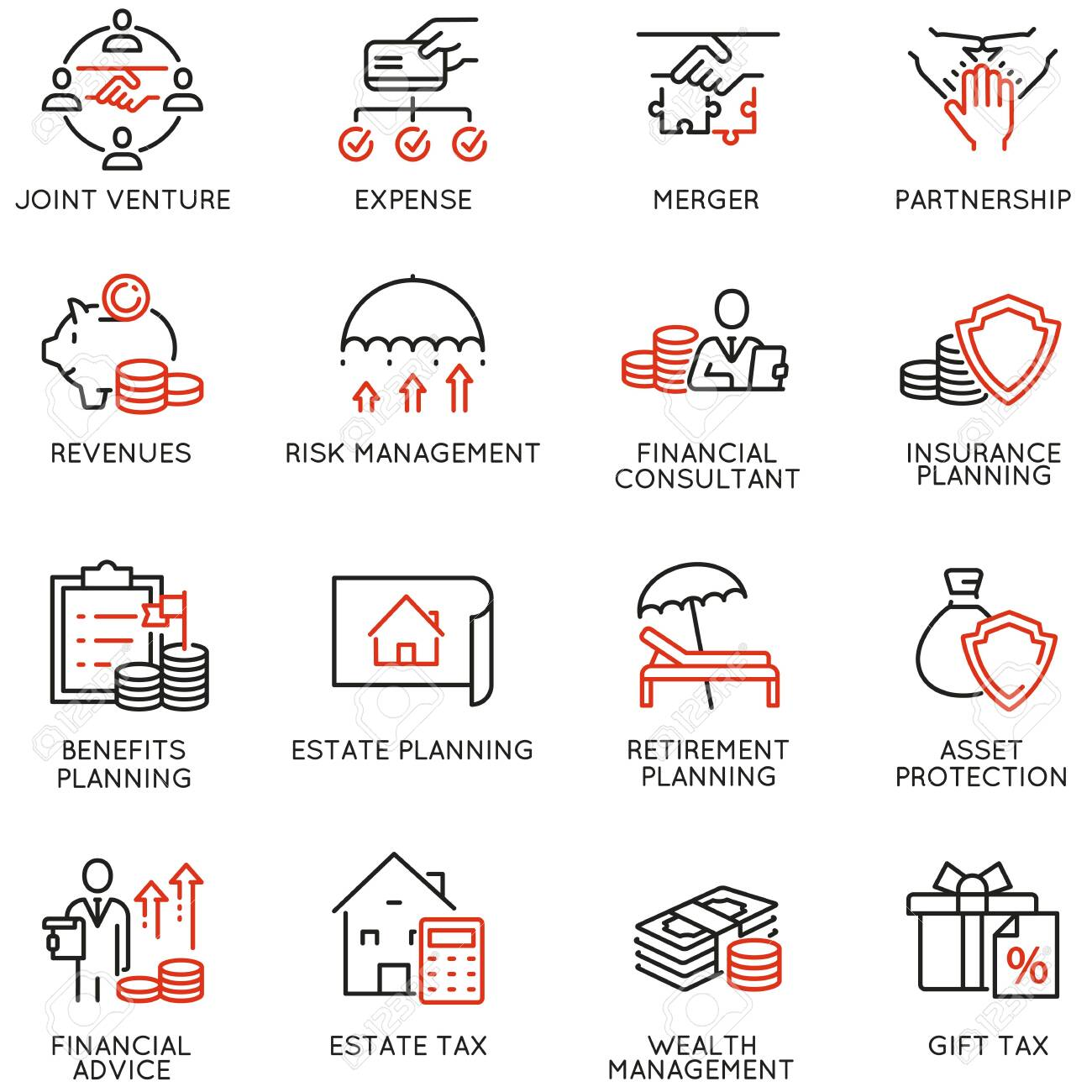 Vector Set of Linear Icons Related to Finance Report, Accounting, Calculation, Consultation and Audit. Mono Line Pictograms and Infographics Design Elements - 147581759