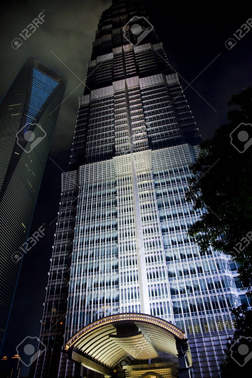 Shanghai skyscrapers at night Stock Photo - 14223590