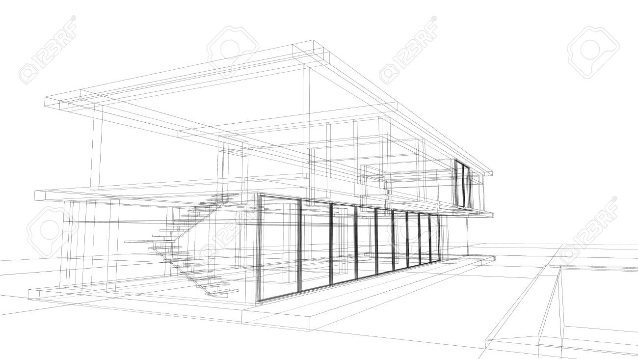 Plan Architectural Rendre D Une Maison Privee En Filaire Disposition Banque D Images Et Photos Libres De Droits Image 26965143