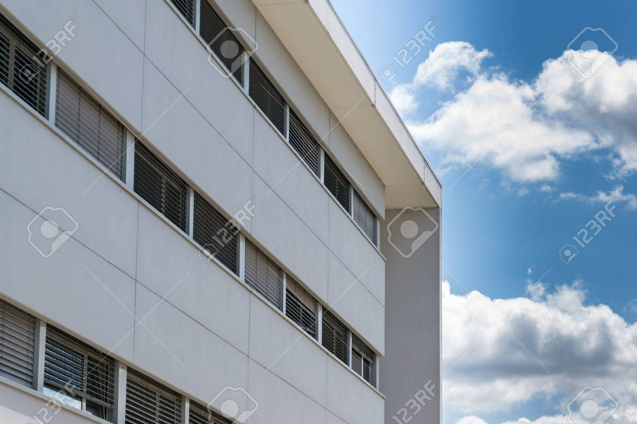New Prefabricated Office Building With White Facade Stock Photo   28930444