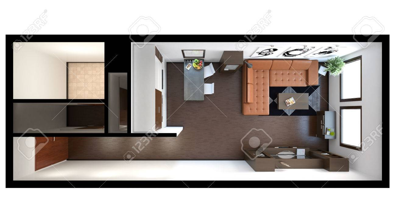 small loft furniture. 3D Interior Rendering Of A Small Loft With Textures Stock Photo - 41455439 Furniture