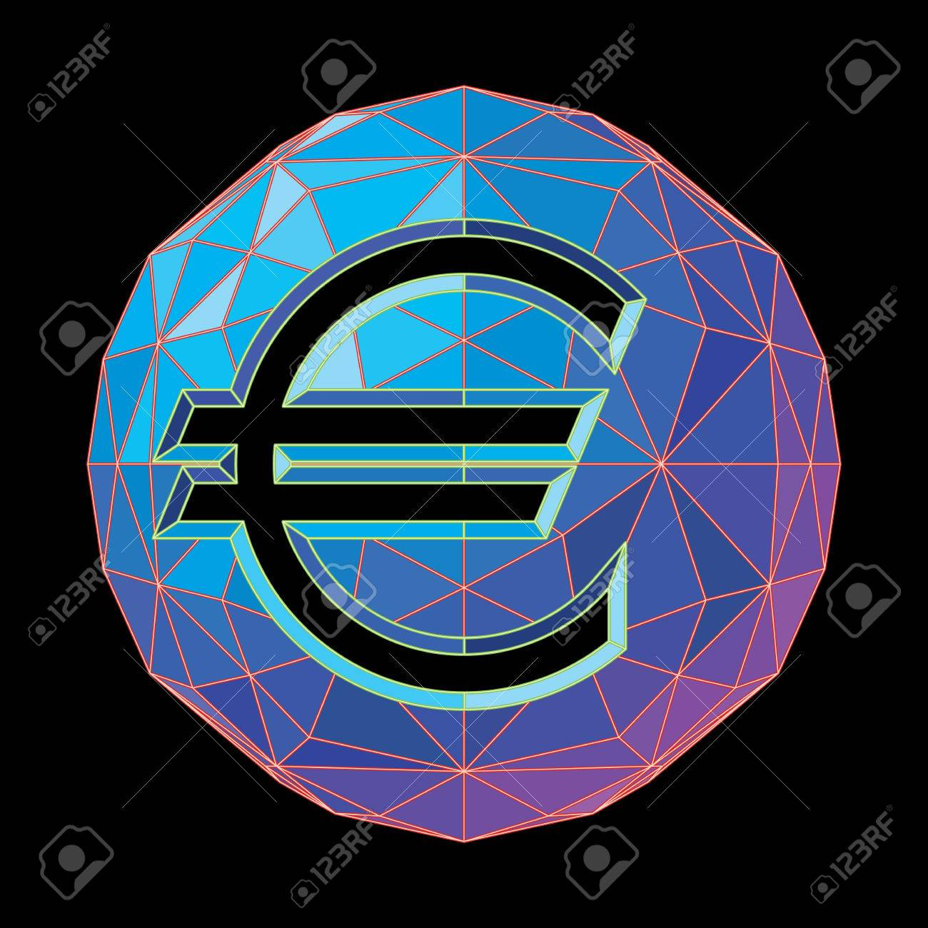The Euro Symbol On A Circular Background Of Blue Shades Royalty Fri