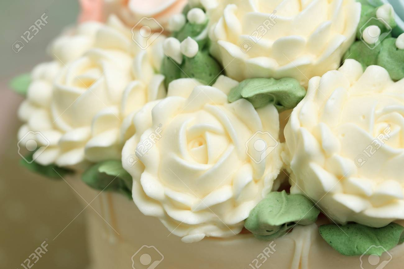 Stupendous Close Up Of White Flowers Made From Cream Decorated On Wedding Funny Birthday Cards Online Alyptdamsfinfo