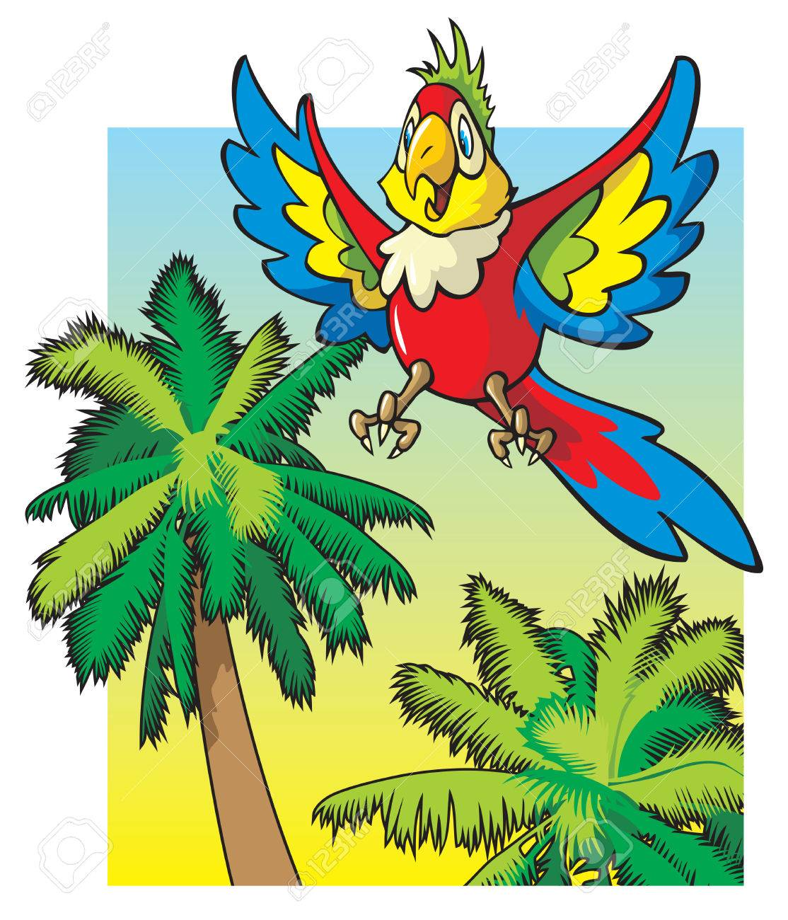 Bright Colored Parrot Flying Among The Palm Trees, Cartoon Vector ...