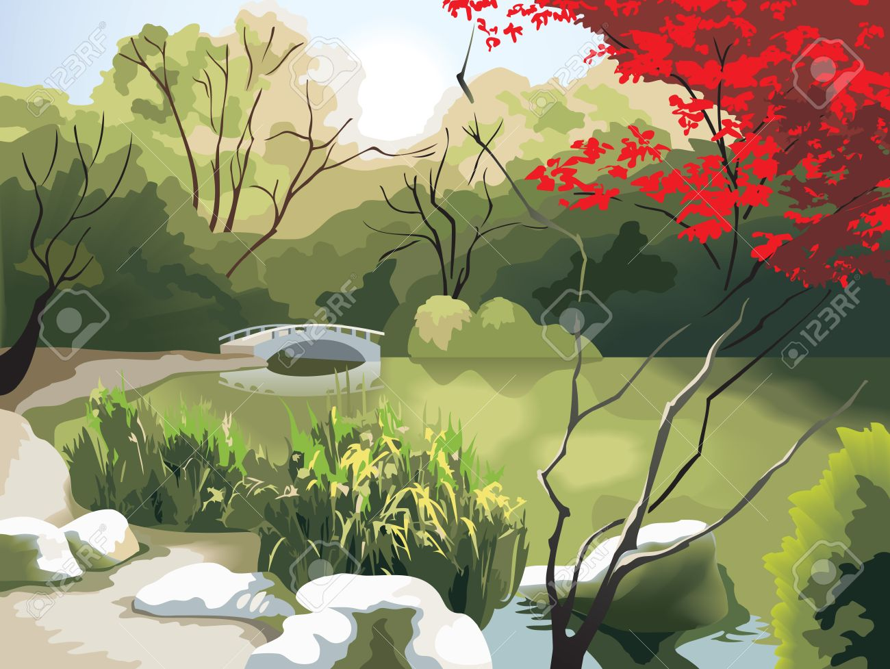 Nature park scenery in spring, small bridge on the pond, China, photo-realistic vector illustration Stock Vector - 5545258