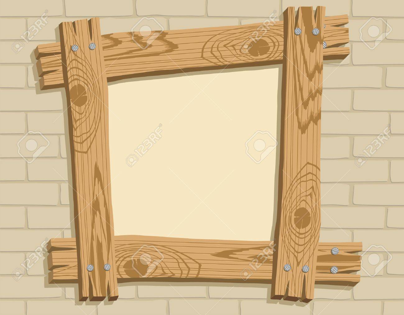 Frame of wooden boards against a backdrop of brickwall, vector illustration Stock Vector - 5545240