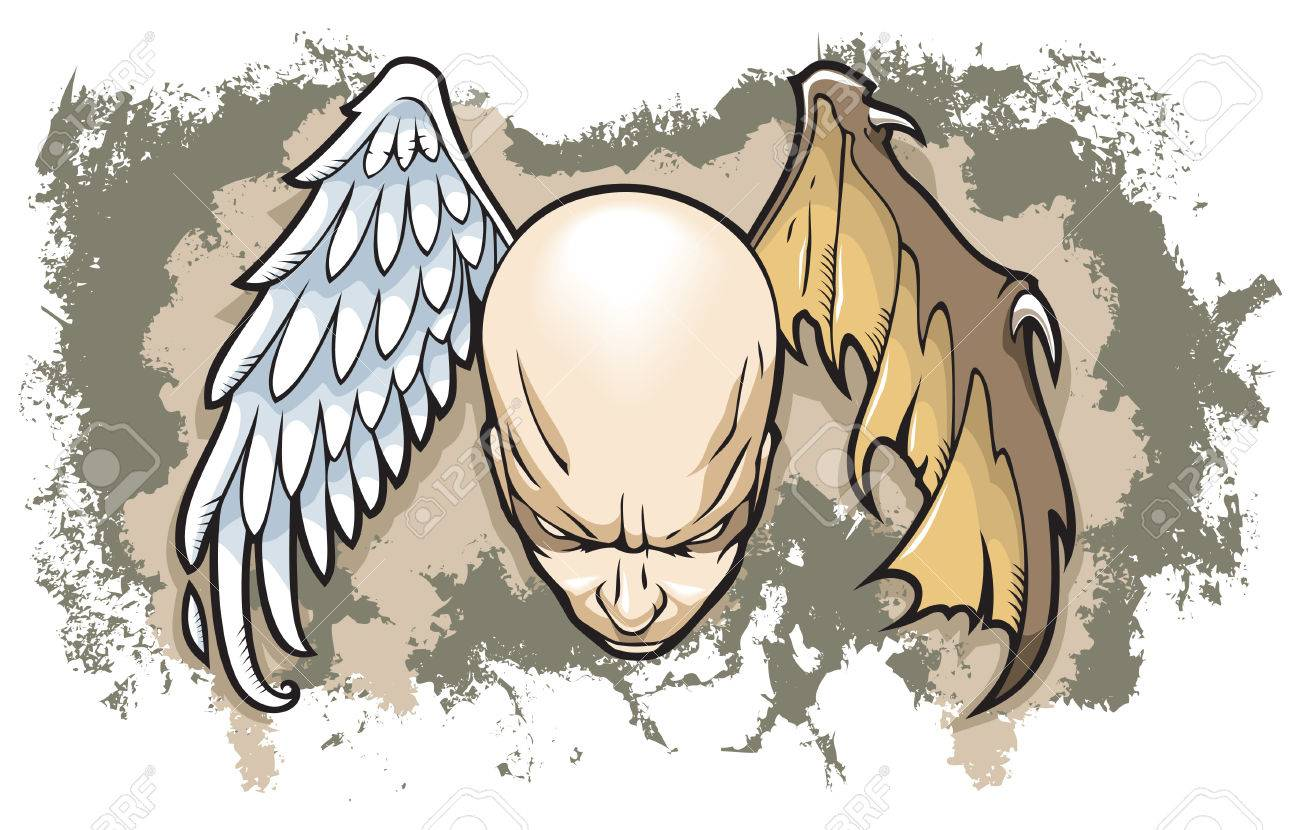 Philosophical concept of human nature, two wings, angel and demon, grunge background, vector illustration - 5545247