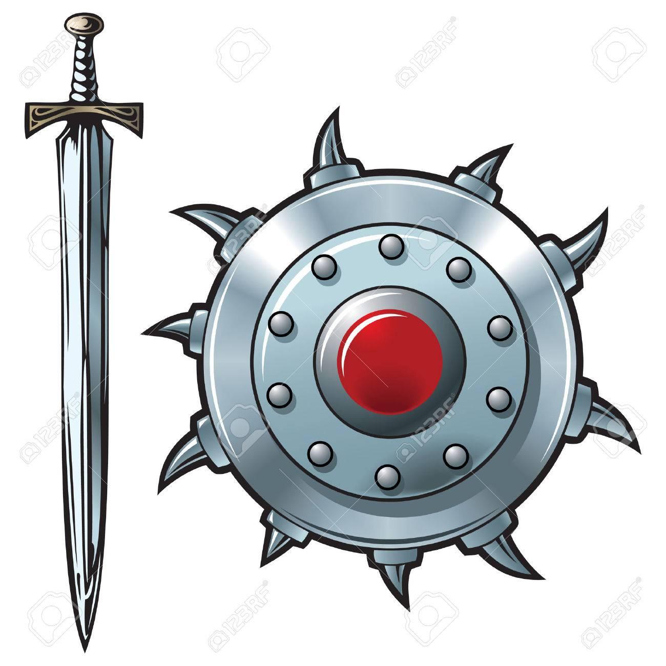 Fantasy sword and shield made of shining metal, vector illustration Stock Vector - 5921085