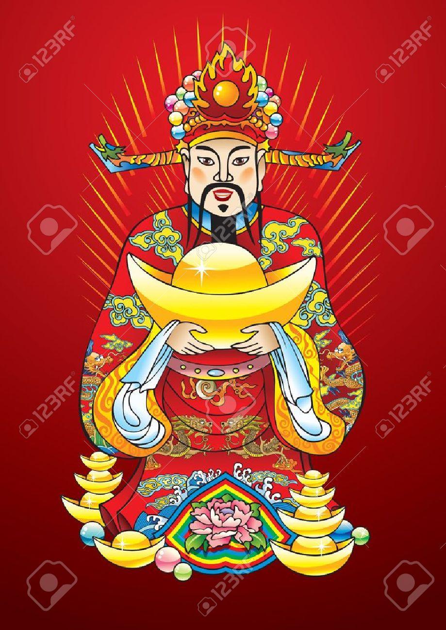 Dios de año nuevo chino de la riqueza, la riqueza y la prosperidad, con tesoros de oro y flor de loto Foto de archivo - 6667925