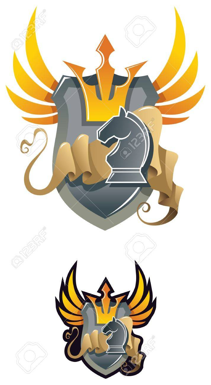 Chess heraldic emblem, with crown and chess knight,  illustration Stock Vector - 6990470