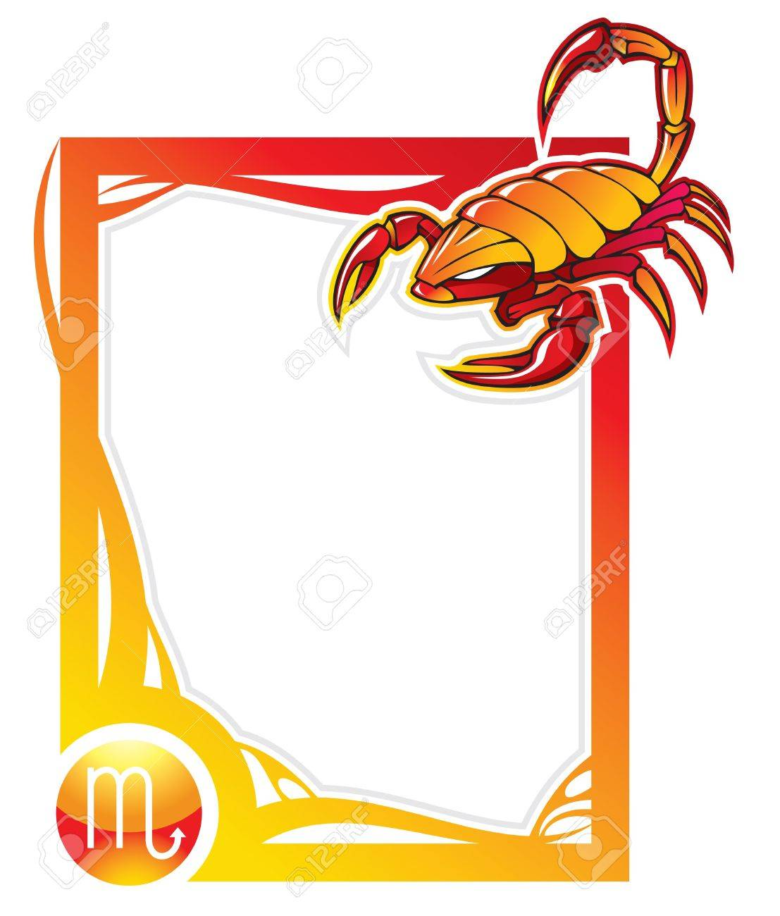 Scorpio, the eighth sign from the series of the zodiac frames in cartoon style,  illustration Stock Vector - 6990500